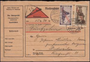 Dienstmarken 17+20 Aufdruckmarken auf Nachnahme-Karte SAARBRÜCKEN 8.10.1929
