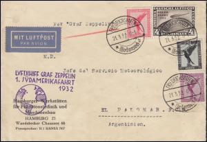 Luftschiff Graf Zeppelin 1. Südamerikafahrt 1932 Brief FRIEDRICHSHAFEN 21.3.32