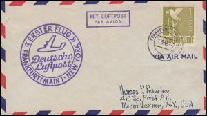 Erstflug Deutsche Luftpost FRANKFURT / MAIN - NEW YORK 1.5.1948 Brief mit EF 959