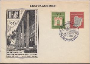 171-172 IFRABA 1953 - auf Schmuck-FDC Ersttagsbrief ESSt Frankfurt 29.7.53