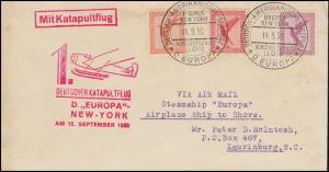 Katapultpost 1. Katapultflug D. EUROPA - NEW YORK 14.9.30, Seepost - Hab. 31b
