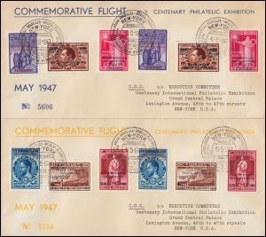 Belgien CIPEX New York Ausstellung 781-789 Aufrucke I+II auf 3 Briefe 18.5.1947