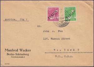 4+13 Schwarzaufdrucke 10+40 Pf MiF Auslandsbrief BERLIN-SCHÖNEBERG 16.10.1948
