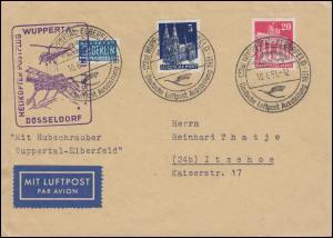 1. Helikopter-Postflug in Deutschland, Brief + Notopfer SSt WUPPERTAL 10.6.51