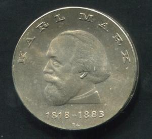 Gedenkmünze Karl Marx 20 Mark von 1968, vorzügliche Erhaltung