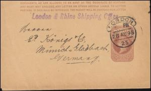 Großbritannien Streifband S 7 Königin Viktoria LONDON 26.8.1895 nach Deutschland