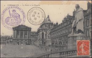 Deutsche Friedensdelegation in Versailles dt. & fr. Briefstempel AK SSt. 28.6.19