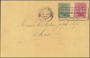 Belgien 116+117 König Albert I. Postkarte Krankenkasse BRÜSSEL 16.7.21 nach Mons