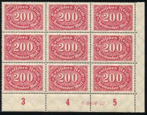 248I 200 Mark, Eck-9er-Block mit HAN und PLF I Haken am S in Deutsches, **
