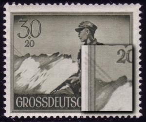 885I Wehrmacht 30 Pf mit PLF I Drahtseilbahn links oben, Feld 25, **