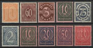 65-74 Dienstmarken Jahrgang 1921/22 komplett, 10 Werte postfrisch **