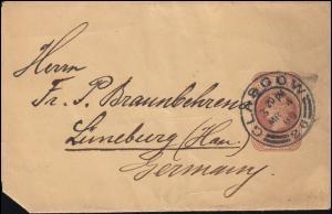 Großbritannien Streifband S 8 Viktoria GLASGOW 4.3.1899 nach Lüneburg/Hannover