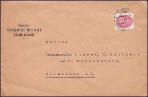 Dienstmarke 124 Strohhut 15 Pf. EF Brief Amtsgericht LEER (OSTFRIESL.) 30.12.31