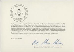 MinKa 07/1984 Sporthilfe: Olympische Sommerspiele