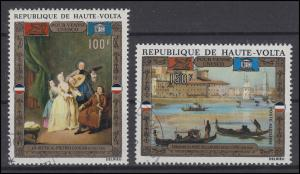 Burkina Faso / Obervolta: UNESCO Venedig Gemälde Musikanten / Gondeln, 2 Werte O