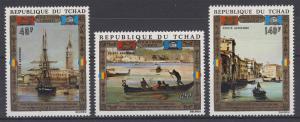 Tschad: UNESCO Venedig Gemälde / Paintings Schiffe in Venedig, 3 Werte **