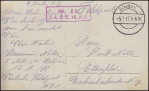 Feldpost Briefstempel 5.A.M.K. 16. A.K. FELDPOST 5.7.17 auf AK Olaf Fönss