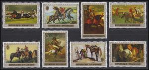 Ruanda / Rwandaise: Gemälde mit Pferden Horses of paintings, 8 Werte, Satz **