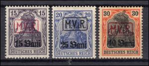 Militärverwaltung Rumänien 1-3 Germania-Aufdrucke, Satz mit Falz *
