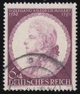 810III Mozart mit PLF III Fleck im Oberrand über A von AMADEUS, Feld 35, O