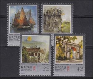 Macao: Stadtansichten & Architektur - 4 Zeichnungen von Kwok Se 1997, Satz **