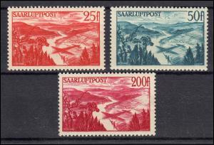 252-254 Flugpostmarken, kaum sichtbar entfalzt, Satz *