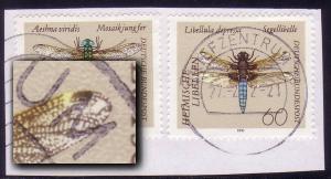 1546I Segellibelle 60 Pf: Aussparung am Flügel, auf Briefstück BZ 76 - 27.2.92