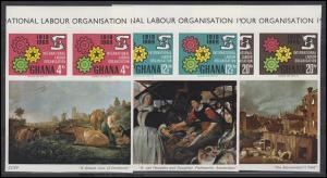 Ghana: International Labour Organisation, 3 Paar mit Gemälden aus Kleinbogen **