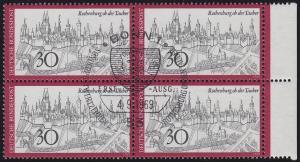 603 Rothenburg ob der Tauber: Rand-Viererblock mit zentrischen ESSt BONN 4.9.69