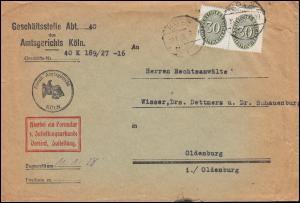 Dienstmarke 120 Strohhut 30 Pf MeF Brief Amtsgericht KÖLN 10.1.29 nach Oldenburg