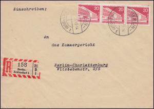 146wv Berliner Bauten waager. 3er-Streifen MeF R-Brief BERLIN-ZEHLENDORF 3.3.58