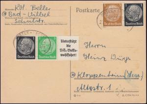 Hindenburg-ZD W 72 und W 77 aus EG-Str. 1 auf Postkarte mit Bahnpoststempel