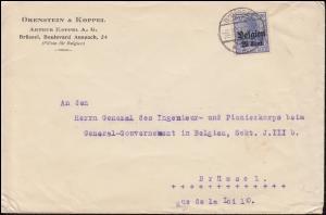 Landespost in Belgien 18 Germania mit Aufdruck EF Brief BRÜSSEL 6.9.1917