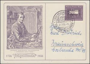 Schmuck-Postkarte 200 Jahre Firma Voigtländer passender SSt BRAUNSCHWEIG 27.9.56