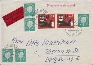 182R Heuss Brief Schnellpost Berlin 16.4.62 rs. Stechuhr FA 1 Rohrpost-Station
