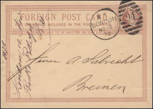 Postkarte P 4 Königin Viktoria DUP LONDON 94 - 18.11.1878 nach BREMEN -19.11.78