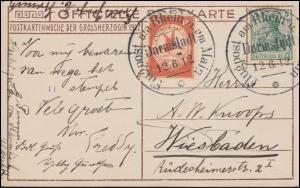 Flugpost Rhein-Main Darmstadt 12.6.12 - 10 Pf mit ZF auf AK Großherzog 1912