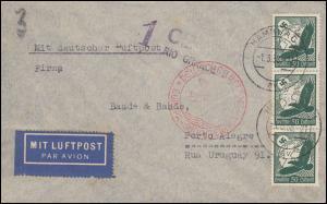 Deutsche Luftpost Europa-Südamerika Brief HAMBURG 1.3.38 mit Zensur n. Brasilien