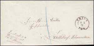 Preußen Faltbrief aus TRIER 3.5.1872 nach Wetteldorf-Schönecken AUSGABE 4.5.