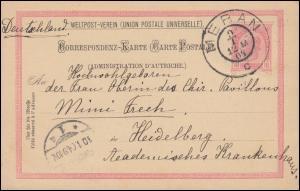 Österreich Postkarte P 140 I aus MERAN 9.1.1904 nach HEIDELBERG 10.1.04