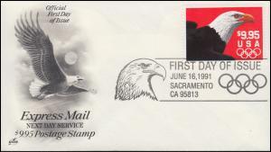 USA 2147 Adler Olympia 1991 auf Schmuck-FDC SACRAMENTO 16.6.1991