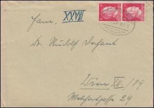 788 Freimarke 12 Pf. als MeF auf Brief mit Inhalt per BAHNPOST 16.5.42 nach Wien