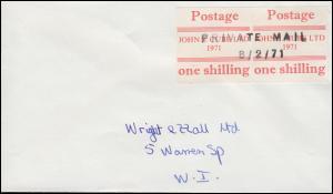 Großbritannien Streikpost Postal Workers Strike, Brief Private Mail 8.2.1971