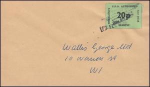 Großbritannien Streikpost Postal Workers Strike, Brief G.P.O. Olympic 12.2.1971