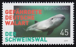 3436 Gefährdete deutsche Walart: Der Schweinswal, nassklebend, **