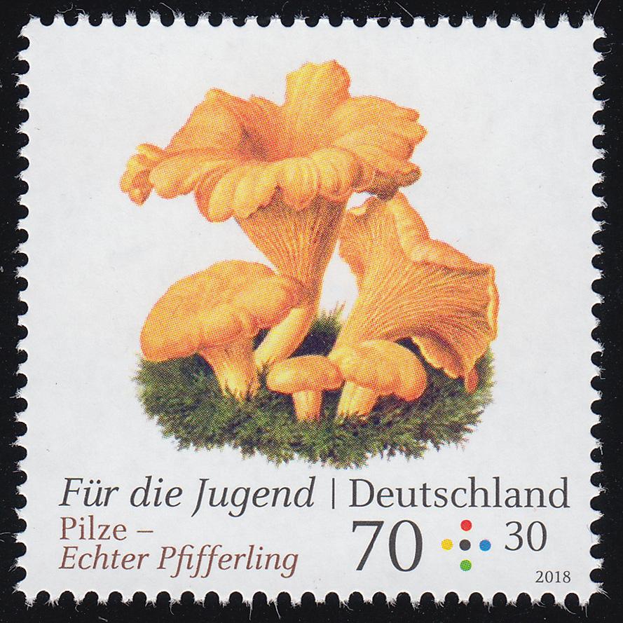 3407 Für die Jugend - Pilze: Echter Pfifferling 70 Cent, ** 0