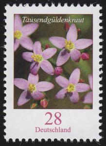 3088 Blumen: Tausendgüldenkraut 28 Cent, nassklebend, **
