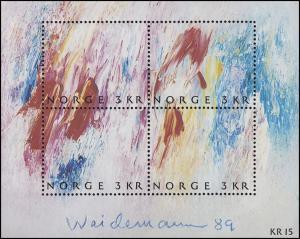 Norwegen: Tag der Briefmarke - Gemälde von Jakob Weidemann 1989, Block 11 **