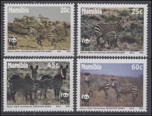 Namibia WWF: Bergzebra & Hartmannzebra Equus zebra, 4 Werte, Satz **