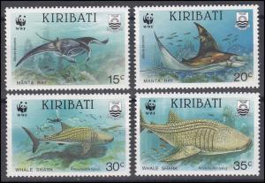 Kiribati WWF Meerestiere Mantarochen Manta Ray & Walhai Whale Shark, 4 Werte **